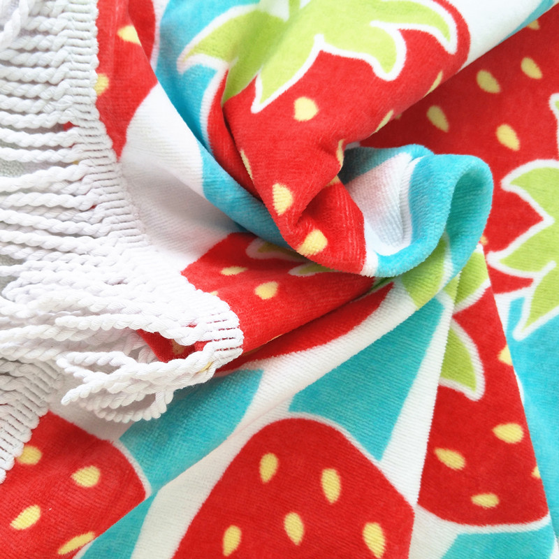 Cotton Velvet Pile Pigment / Reactive Dyes Printed Rectangle Beach Towel Tassels Available OEM ODM